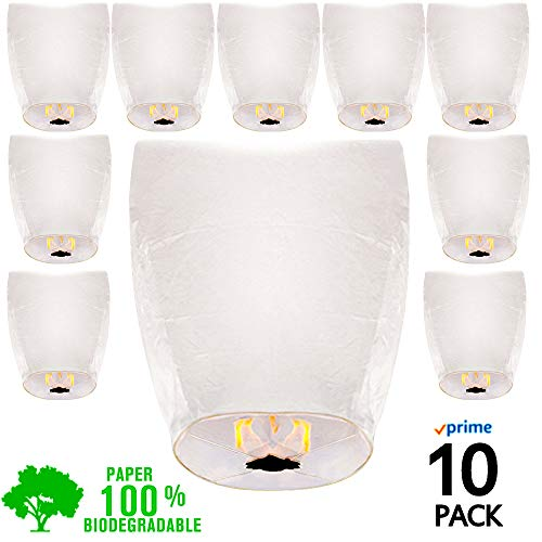 Chinese Lanterns White Paper (10) Pack - Ready to Use and Eco Friendly - Extra Large - 100% Biodegradable Wire Free - Beautiful Lantern for Weddings, Chinese Festival, Memorials, etc.
