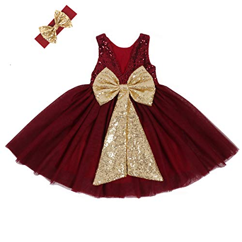 Cilucu Flower Girl Dress Baby Toddlers Sequin Dress Tutu Kids Party Dress Bridesmaid Wedding Gown Birthday Dress Wine Gold Burgundy 12months-24months ()