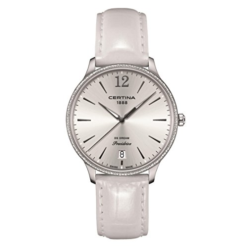 Certina Women's Ds Dream White Leather Band Steel Case Quartz Silver-Tone Dial Watch C021.810.66.037.00