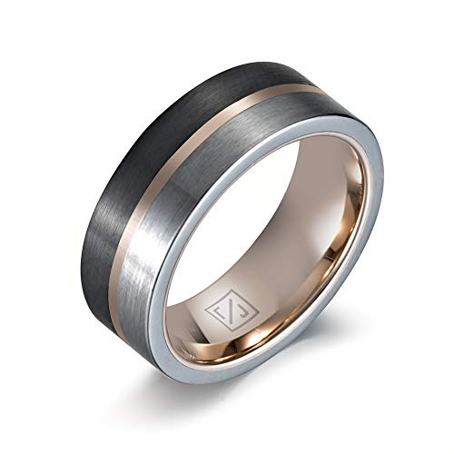 Luxffield Jewelry 8mm Black and Silver Tungsten Wedding Ring Thin Side Rose Gold Grooved Brushed Dome Wedding Band Engagement Ring Size 12