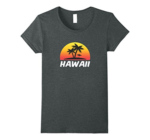 Womens Hawaii T Shirt   Beach Sunset Small Dark Heather