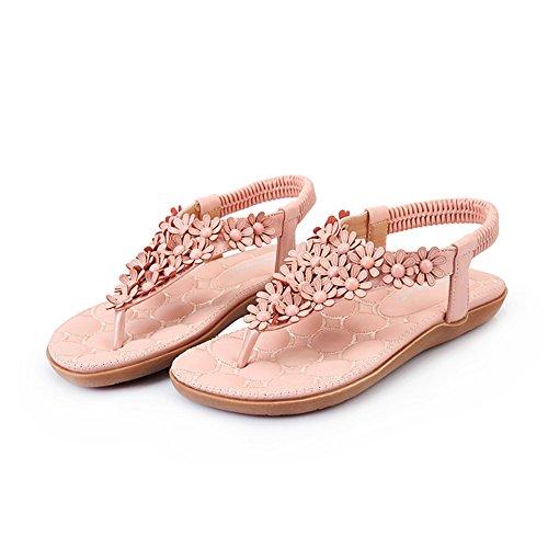 die UK6 Größe T EU39 Flats Bügel Sommer bördelt Rosa Grau Farbe Sandalen Blume Frauen Schuhe CN39 Erstaunliche 4wWggqTS