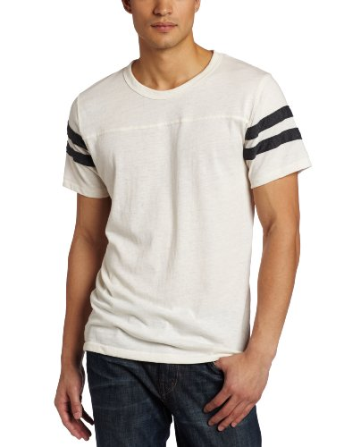 Alternative Men's Short Sleeve Football Tee, Ivory/Vintage Black, ()