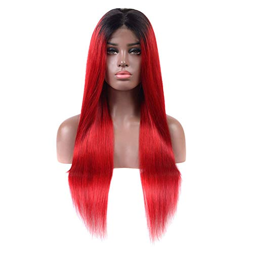 Blue Red Purple Green Lace Front Human Hair Wigs 150 180 250 Density Halo Lady Indian Straight Ombre Color Remy Hair Wigs,T1B/Red,12inches,180% (Waldorf Swiss)