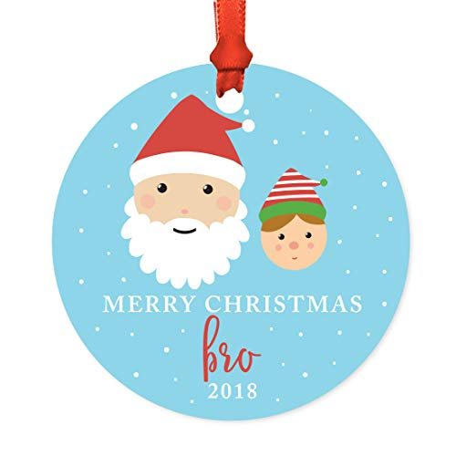 Andaz Press Family Metal Christmas Ornament, Merry Christmas Bro 2018, Santa and Mrs. Claus with Elf, 1-Pack, Includes Ribbon and Gift Bag, Brother Xmas Present -  APP12165