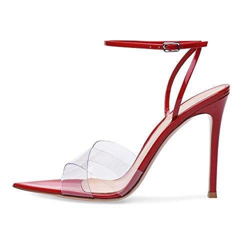 Plateforme Transversale Sandales Red Sexy Transgenre Femme B2 Grande Talon Haut TLJ Fête Mariage Soirée Club KJJDE Taille 43 De Courroie Oz8Uqw