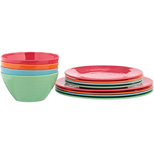 Gibson Home Brela 12-Piece Melamine Dinnerware Set - Bright