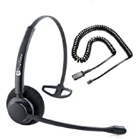 Professional Single Ear Noise Canceling Headset & QD Cable For Avaya IP 1608, 1616, 9601, 9608, 9611, 9611G, 9620, 9620C, 9620L, 9621, 9630, 9640