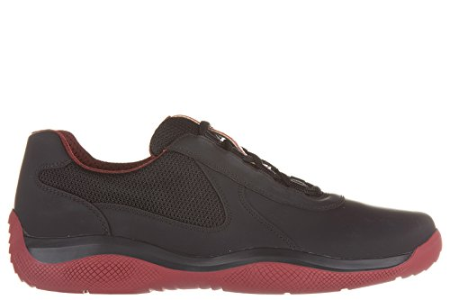 Prada-mens-shoes-leather-trainers-sneakers-calfskin-rubber-bike-black