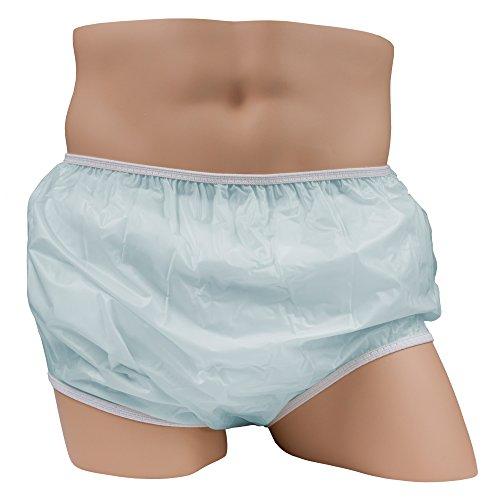 LeakMaster Adult Pull-On Vinyl Plastic Pants - Blue, Medium fits 32-36 inch waist
