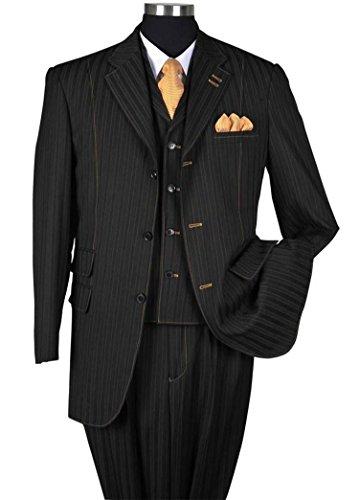 Milano Moda Fancy Stripe High Fashion Suit with Vest & Pants 5267-Bk-48R