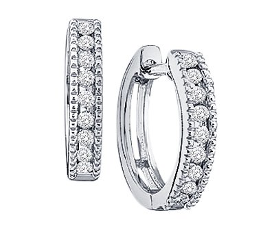 14k Yellow OR White Gold Round Cut Diamond Hoop Huggie Milgrain Style Earrings – 14mm Height * 3mm Width (1/4 cttw)