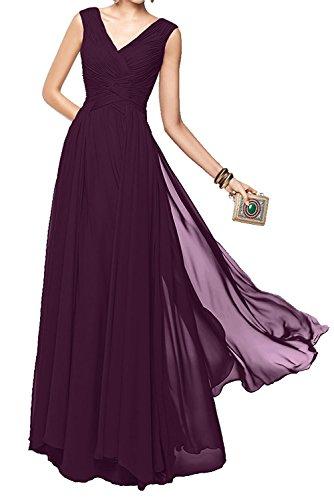 Elegant Marie Brautjungfernkleider Formal Lang Ausschnitt V La Abendkleider Traube Braut Damen Tanzenkleider gApCwCOq