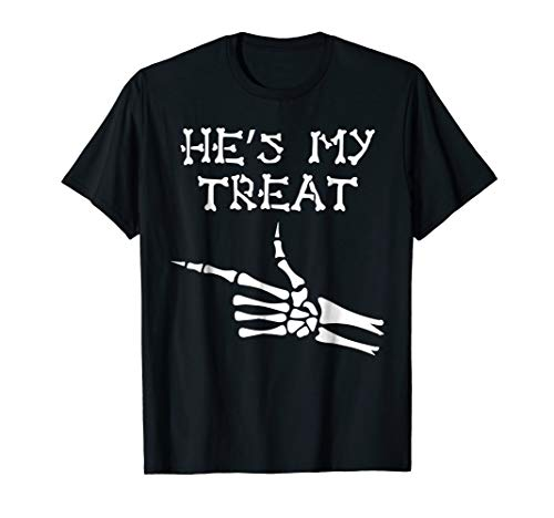 She's My Trick He's My Treat Couple's Tshirts Short Sleeve for $<!--$16.99-->