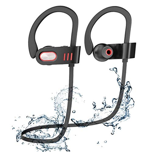 Bluetooth Headphones, Best Wireless Sports Earphones HD Stereo Sweatproof Earbuds with Mic Ergonomic Design for Gym Running Workout 8 Hour Battery Noise Cancelling Headsets Black