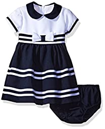 Bonnie Baby Baby Girls\' Peter Pan Collar Nautical Dress and Panty Set, Navy, 3-6 Months