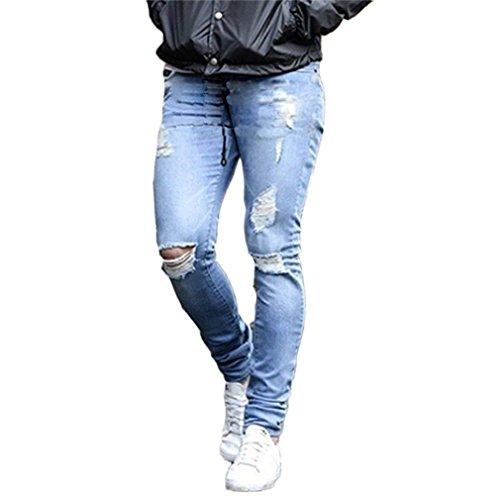 Confortevole Fit Tasche 4xl Lunghi Strappato Vita Blu Slim Skinny Media Jeans S Per Chiaro Pantaloni Uomo Con 1 Moda Hq0w7tt