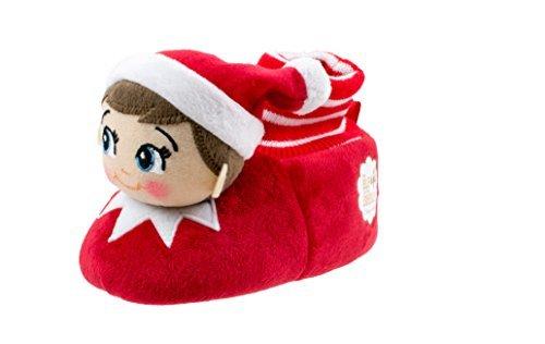 Toddler Elf - Elf on the Shelf Boys Girls Sock Top Slippers (Toddler Dual Size 7/8, Red)