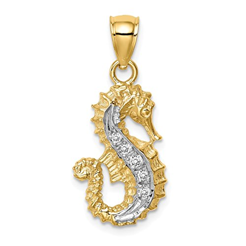 14kt Yellow Gold Horse Charm - 14kt Yellow Gold Diamond Seahorse Pendant Charm Necklace Sea Life Fine Jewelry For Women Gift Set