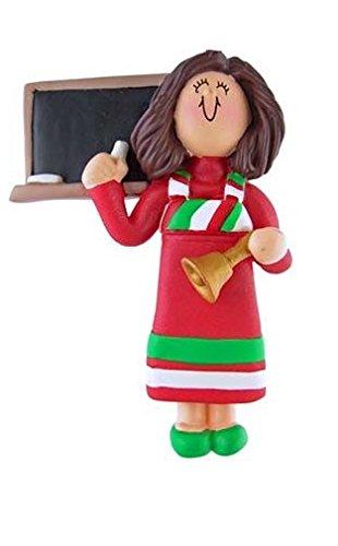 3215 Teacher: Red Dress Female Brown Hair Ornament