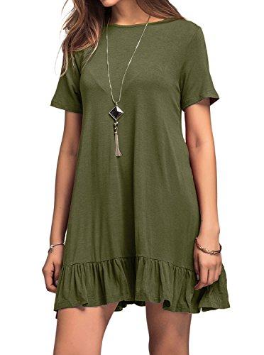 Women's Pocket Draped Casual Scoop Neck Loose Swing T Shirt Dress Olive Green (Olive Womens Dress)