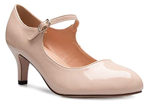Olivia K Womens Classic Low Mid Heels Mary Jane Pumps - Adorable Round Toe Vintage Retro Shoes (Retro Nude)