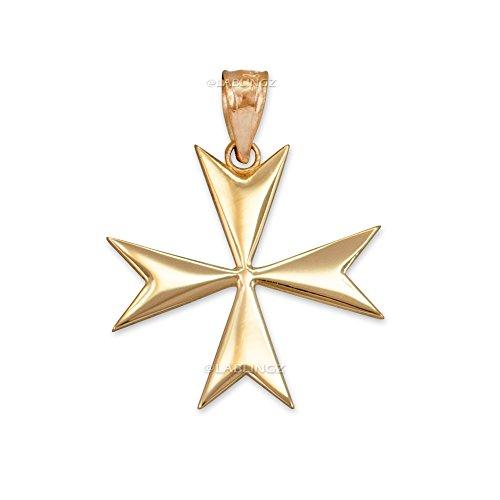 14K Polished Yellow Gold Maltese Cross Pendant