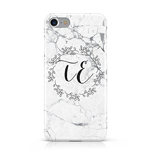 (SearchING Personalised Initials Scroll Marble Mobile Phone CASE Cover for Apple iPhone 7)