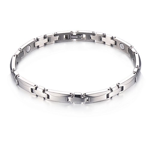 Titanium Magnetic Therapy Bracelet with Link Removal Tool...