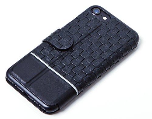Smartphone Hülle für IPhone 7, Flip Cover PU-Leder Tasche in gewebter Optik schwarz von ICH&DU