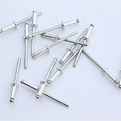 Rivets SUPERTOOL Lot de 50 rivets pop en aluminium /à grande bride avec extr/émit/é ouverte 2,4//3,2//4//4,8 mm argent