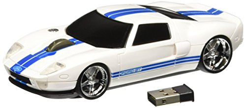 Roadmice Optical Computer Wireless Radio Frequency USB 800 DPI Scroll Wheel Car Mouse Ford GT, White/Blue (Frequency Wireless Radio Usb Pc)