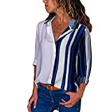KFSO Women's Striped Long Sleeve Plus Size Color Block Loose Botton Blouse Tops T-Shirt (Multicolor E, XL)