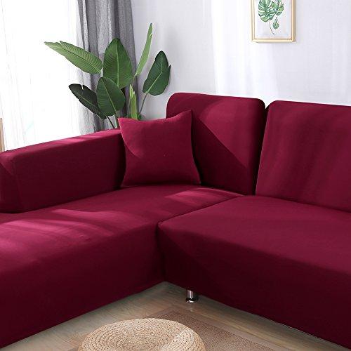 Beacon Pet Universal Sofa Covers L Shape, 2pcs Fabric Slipcovers Covers Sofa L-Shape Couch - Wine-Coloured