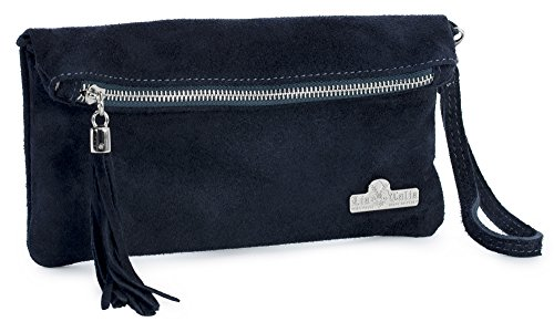Real Deep Evening Wristlet Womens Navy Leather Clutch RUTH Italian LIATALIA Party Purse Bag Wedding Suede qT4K5
