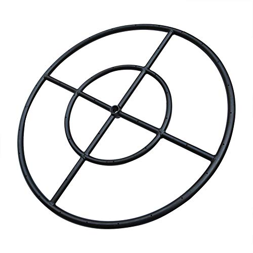 "Stanbroil 24"" Round Fire Pit Burner Ring, Double Ring, Black Steel"