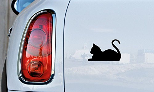 Cat Silhouette Cartoon Version 8 Car Vinyl Sticker Decal Bumper Sticker for Auto Cars Trucks Windshield Custom Walls Windows Ipad Macbook Laptop and More (BLACK) ()