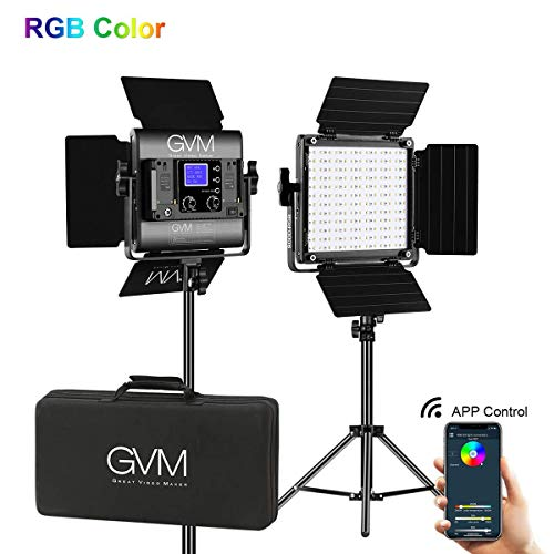 GVM Led Video Light 2 Kit with App Phone Control; 40W Adjustable 7 Colors+ Bi-Colors, CRI97 +/ Brightness 0% -100%, Stand + Barndoor + LCD Screen; 800D-RGB Lighting for YouTube, Studio