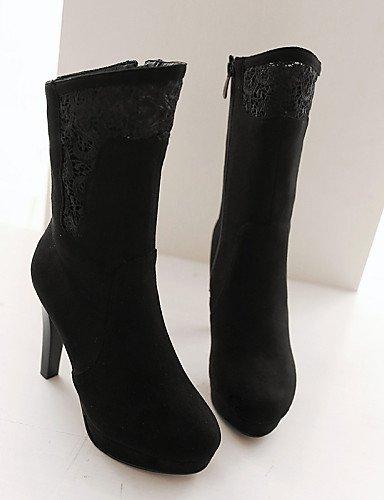 Negro Cn40 Casual 5 Mujer Eu39 Uk6 Encaje us8 Tacón Rojo La Moda Botas Black Vellón Xzz Redonda Vestido Stiletto Zapatos De A Punta 5 xSFgZ