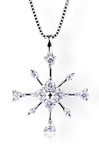 Startreasureland 925 Sterling Silver Pendant Necklace Shiny Snowflake - Perfect gift