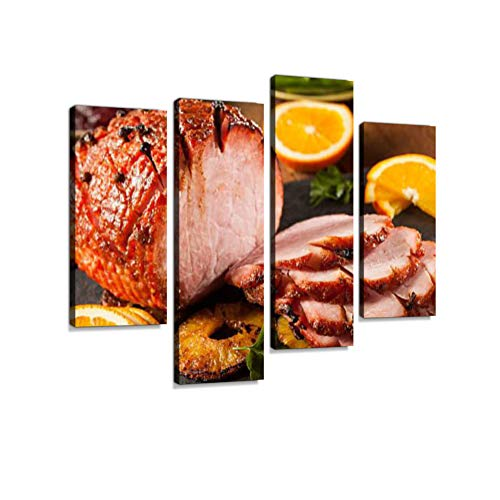 Traditional Sliced Honey Glazed Ham Canvas Wall Art Hanging Paintings Modern Artwork Abstract Picture Prints Home Decoration Gift Unique Designed Framed 4 Panel