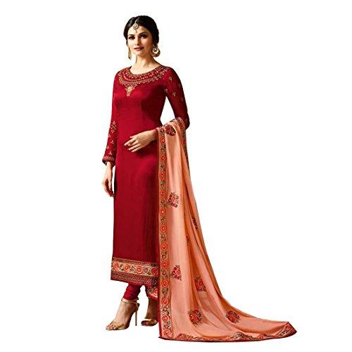 - Laxminarayan Red Georgette Embroidered Churidar Straight Salwar Suit with Pure Banarasi Silk Dupatta (Medium)