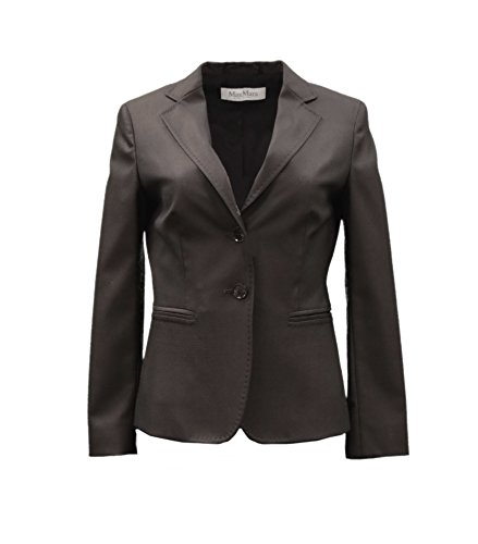 maxmara-womens-gervaso-wool-silk-fitted-blazer-jacket-sz-4-dark-brown-80722mm