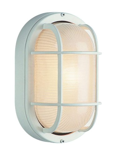 Trans Globe Lighting 41015 WH 16-Inch 1-Light Large Outdoor Bulkhead, White