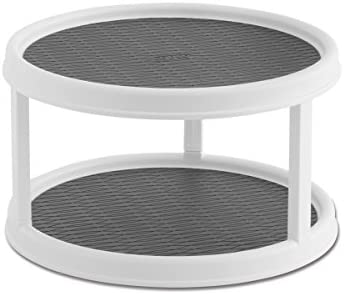 White//Aqua 12-Inch Copco 5234758 Non-Skid Pantry Cabinet 2-Tier Lazy Susan Turntable
