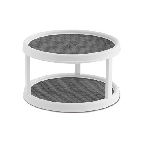 Copco 2555-0187 Non-Skid 2-Tier Pantry Cabinet Lazy Susan Turntable, 12-Inch, White/Gray -