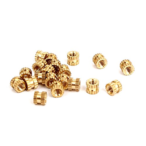 uxcell M2x3mmx3.5mm Female Threaded Brass Knurled Insert Embedded Nuts 20pcs