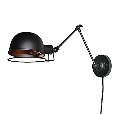 LNC Retro Industrial Swing Arm Iron Wall Lamp ( Bulb Not Included )