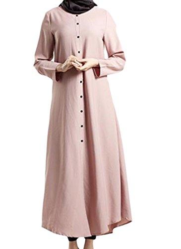 Colore donne size Plus Solido Islamici Di Abiti Pulsante Musulmani Rosa Coolred B6POzFnwqw