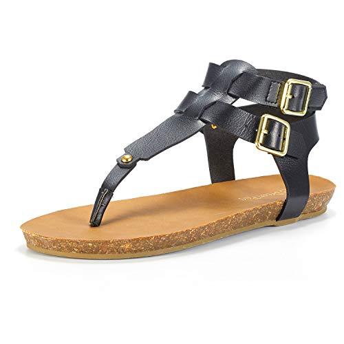 DREAM PAIRS Women's T-Strap Buckle Flat Sandals Size 7.5 M US Black ()